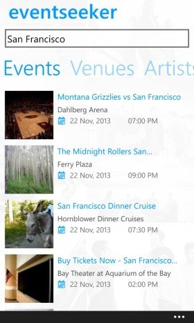 Eventseeker Windows Phone 8 App