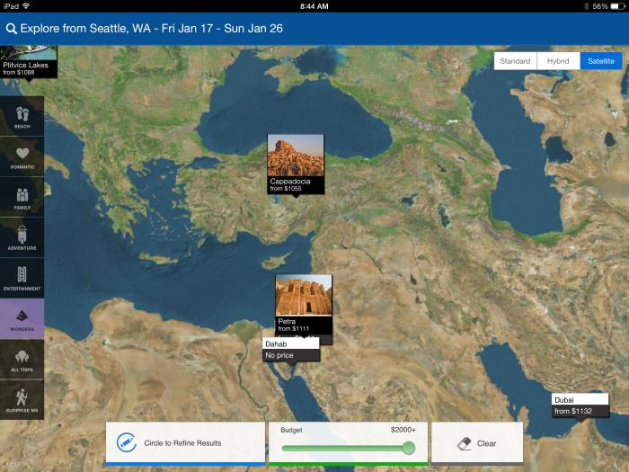 "Priceline iPad App with ""Explore Destinations"" Beta Feature"